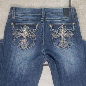 Grace in LA Western Southern Cross Jeans 6 Bootcut